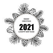 Christmas and New Year design for greeting cards, invitations, prints. Frame in vintage style with hand drawn elements isolated on white. Place for text