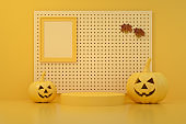 3D Pumpkins for Halloween with spooky face, Jack O' Lantern, Yellow Background