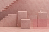 3D Empty Product Stand, Platform, Podium with Staircase, Minimal Design