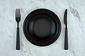 Plate, Fork, Knife, Minimal Restaurant, Food Concept, Kitchen Utensils