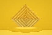 Empty Podium, Pedestal, Showcase, Product Stand on Yellow Background