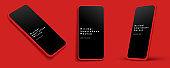 Minimalist modern red clay mockup template smart phones set.
