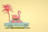 3D Car and Flamingo, Minimal Summer and Travel Concept