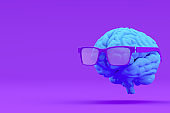 Brain with Eyeglasses, Artificial Intelligence Concept