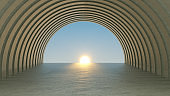 Abstract Concrete Tunnel, Architectural Structure, Door to Sky