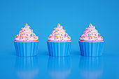 Cupcake on Blue Background