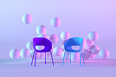 Chair and spheres in empty futuristic room. Brainstorming concept, color gradient background.