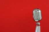 Retro Old Microphone, Vintage Style, Red Background