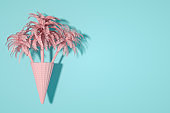 Ice cream cone with palm tree, Minimal Surreal Summer Concept, 3D Abstract Background