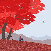 Autumn mountains landscape flat color vector