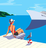 Vacation travel to seaside flat color vector