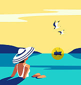 Girl sitting in water enjoys seaside sunset vector
