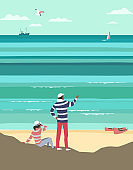 Nautical travel lifestyle flat color vector poster
