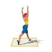 Girl training dancing isolated flat vector icon