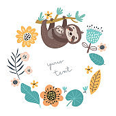 Background with cute sloths and flowers
