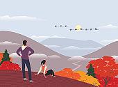 Autumn mountains hiking concept flat color vector