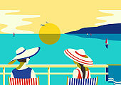Females enjoy sunset seascape on balcony vector