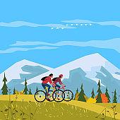 Autumn mountain valley sport activity poster