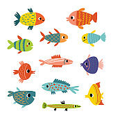 Cute fish. Different kinds of fish, vector set