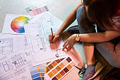 Interior designer drawing a plan with art tools