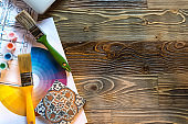 Designer interior tools for interior projects development on dark wooden table