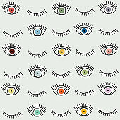 Eye seamless pattern. Vector hand drawn. Open and close eyes with lash background