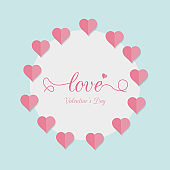 Background for Valentines day with pink hearts. Banner, website, postcard, invitation.