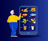 Old Pensioner Woman Ordering Food Dishes Online.Smartphone Application Restaurant Menu.Catering Service. Buy Meal at Home,Receive Home Delivery,Quarantine.Digital Technologies.Flat Vector Illustration