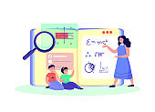 Class Tutorial Education for Children.Teacher Coach Explain Knowledge for Children Students Kid Study,Homework.Lesson Digital Learning.Home Schooling. Pupil Study in Internet. Flat vector illustration
