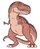 Cartoon brown Tyrannosaurus