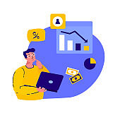 Businessman Calculate Financial Damages,Losses in Crisis Recession.Business Online.Drop in Income.Insolvent,Bankrupt Company.Percent, Interest Decline.Money, Banknotes,Trading.Flat Vector Illustration