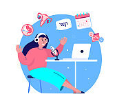 Online Blogging Podcast.Broadcasting,Puberty,Women Health,Sexual Education.Woman in Headphones Talking on Microphone,Media Radio.Laptop Internet.Blogger Podcaster,Broadcaster.Flat Vector Illustration.