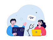 Online Blogging Podcast.Woman in Headphones Interviewing a Man Talking on Microphone.Media Discussion Radio Host.Laptop Internet. Blogger Podcaster,Broadcaster. Communication.Flat Vector Illustration.
