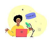 Online Blogging Podcast.Woman in Headphones Talking on Microphone, Media Radio Host. Laptop Internet. Blogger Podcaster, Broadcaster at Workspace. Entertaining Communication. Flat Vector Illustration.
