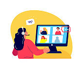 Online Blogging Podcast.Woman in Headphones Talk on Microphone,Media Radio Host.Laptop Internet.Online Meeting Interwiew.Blogger Podcaster,Broadcaster.Entertain Communication.Flat Vector Illustration.