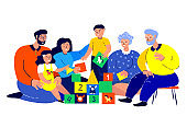 Big Happy Smiling Family Playing Cubes Bricks Game.Young Woman,Man.Parents,Mother,Father,Old Aged Pensioner Grandparents.Grandmother,Grandfather.Daughter,Son.Children Have Fun.Flat Vector Illustration