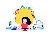 Pupil Child Girl Meditating,Claming Down,Relieve Stress.Studying,Getting Education. Lesson Tutorial Education. Teaching Process.Knowledge for Student.Study Homework,Schooling.Books Vector Illustration