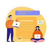Young Teamwork Woman and Man Working Online.Planning Timetable,Corresponding.Freelancer,Remote Workplace.Study Distance Management Businesswoman.Virtual Chat.Internet Schedule.Flat Vector Illustration