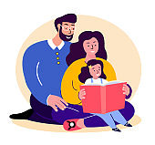 Happy Smiling Family.Father,Mother and Daughter Reading Book Together.Young Adult Parents. Baby, Girl, Dad,Man,Woman, Child Kid. Child,Caring Mom and Papa.Relatives Having Fun.Flat Vector Illustration