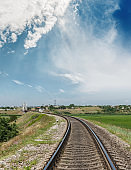 rail road to horizon in bridge and blue sky with clouds