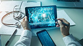 Cardiologist doctor analysis and checking data patient and  electronic medical record in tablet on digital modern virtual screen interface, Medical technology and network concept.
