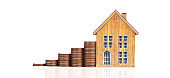 Coin stack house model savings plans for housing,home  Real Estate concept
