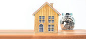 House Model on wooden there space.Home,Housing and Real Estate concept ,business idea