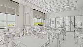 Classroom design with modern desks, seats draw 3D rendering