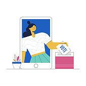 Vote online digital election electronic voting illustration