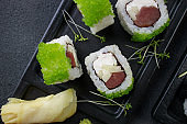 Sushi rolls with tuna and caviar, Japanese cuisine