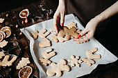 Woman hands with homemade gingerbread cookies