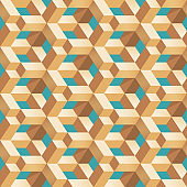 Geometric wooden block shape seamless pattern abstract vector illusion background