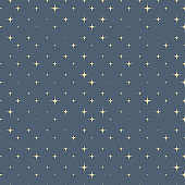 Gold sparkle stars on the gray background seamless pattern vector background