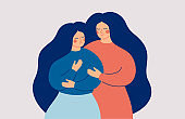 The mother supports her daughter in a difficult situation. Friends and Family Support.